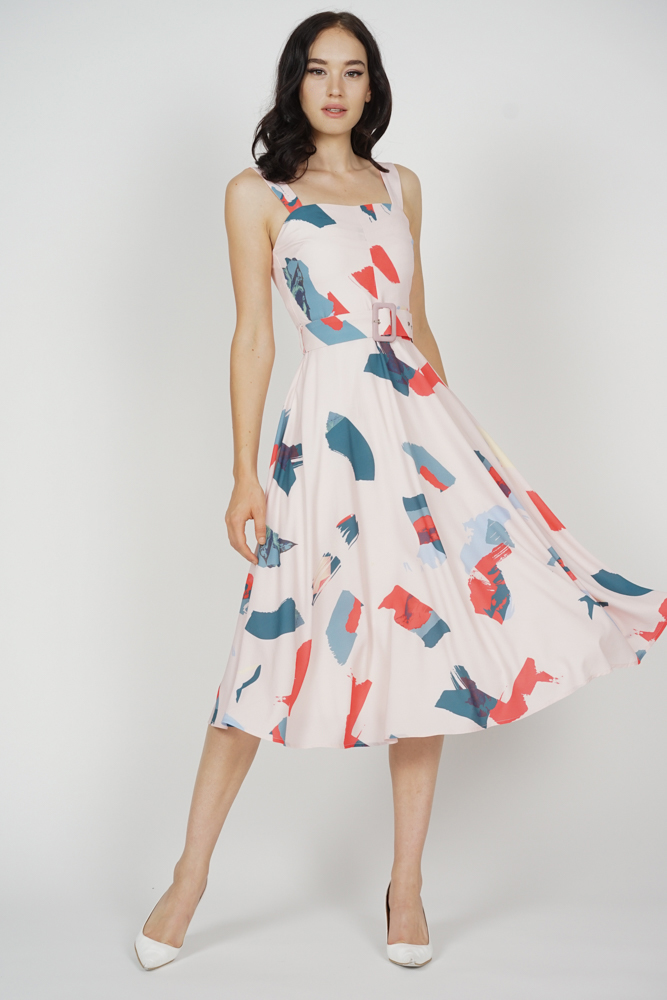 Flared Midi Dress in Brushstrokes