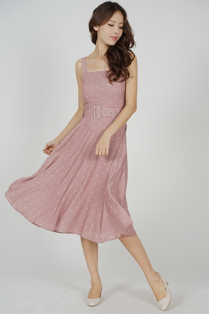 Flared Midi Dress in Mauve Polka Dots
