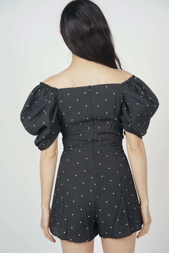 Annabelle Puff Romper in Black Polka Dots - Arriving Soon