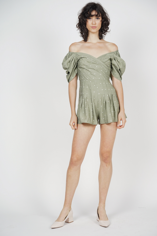 Annabelle Puff Romper in Olive Polka Dots - Arriving Soon