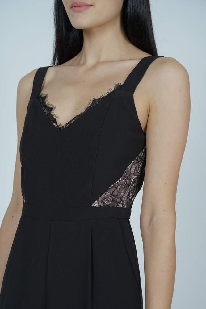 Strappy Lace-Trimmed Jumpsuit in Black