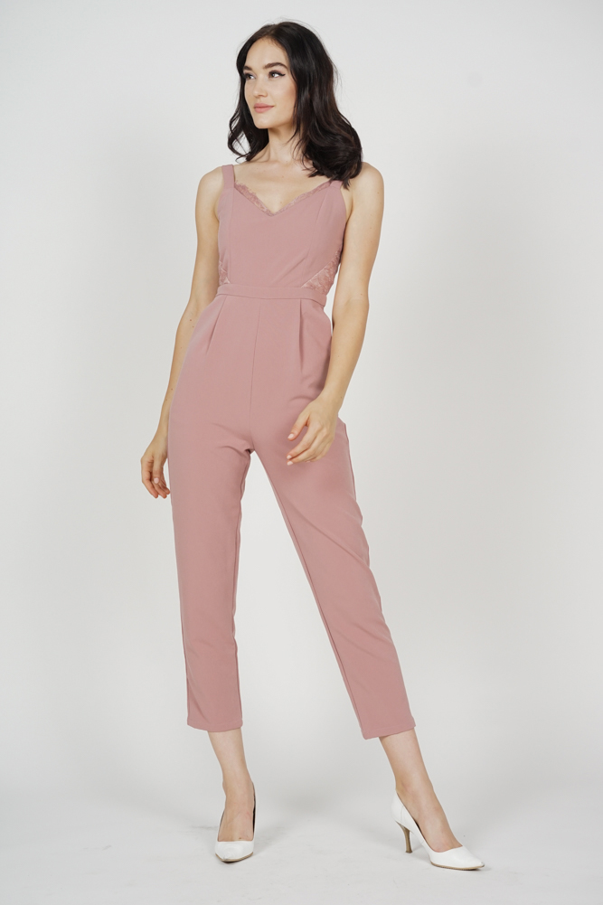 Strappy Lace-Trimmed Jumpsuit in Pink