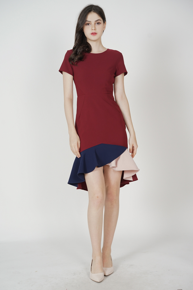 Color-Block Mermaid Dress in Oxblood