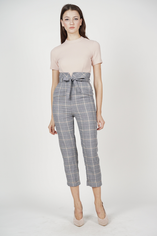 5a31ee36428e Contrast Tie Jumpsuit in Pink Checks