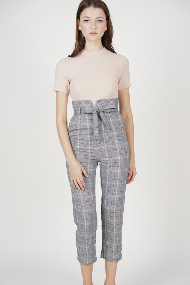 Contrast Tie Jumpsuit in Pink Checks