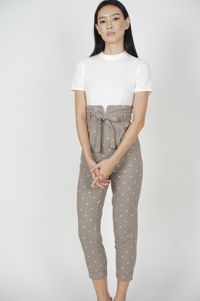 Contrast Tie Jumpsuit in Taupe Polka Dots