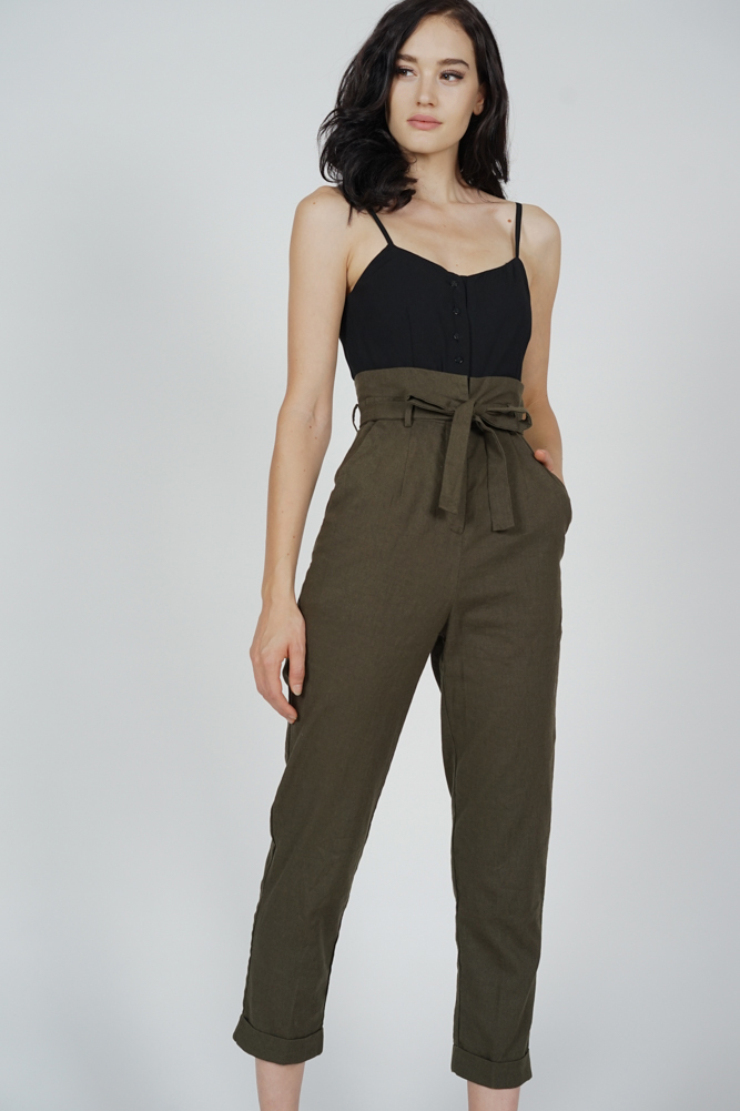 Aster Cami Jumpsuit in Black Olive