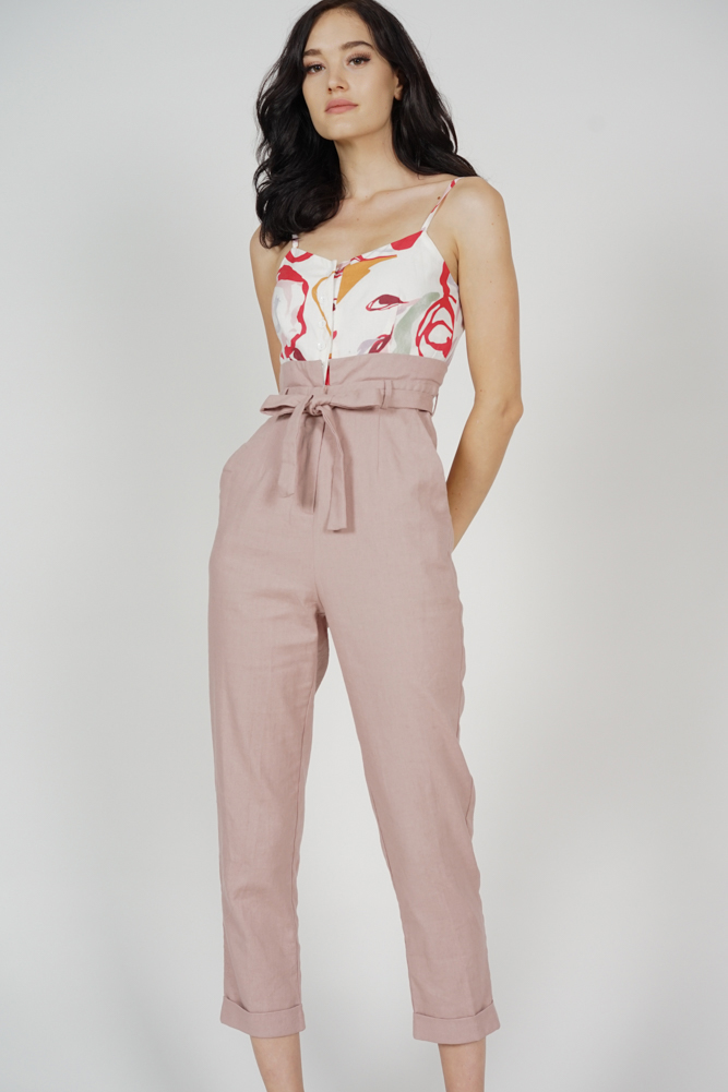 Aster Cami Jumpsuit in White Red