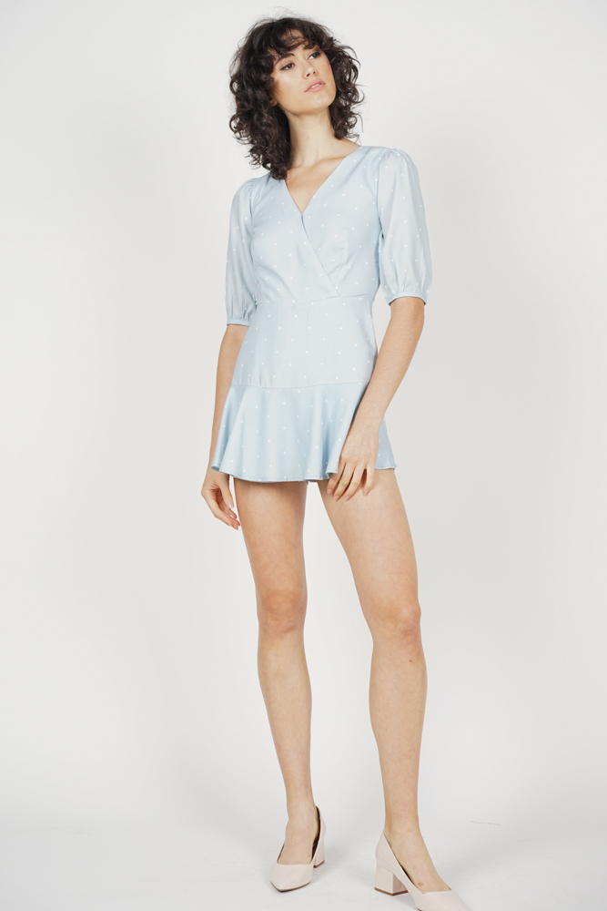 Karen Ruffled Skorts Romper in Ash Blue Polka Dots - Arriving Soon