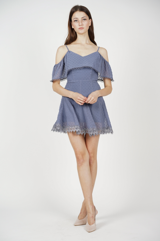 Maisie Crochet-Trimmed Dress in Ash Blue - Arriving Soon