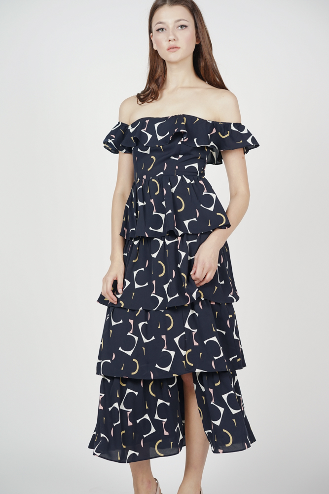 Olara Tiered Dress in Midnight Abstract - Arriving Soon