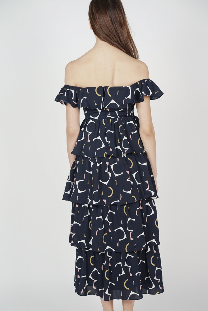 Olara Tiered Dress in Midnight Abstract