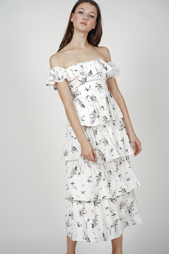 Olara Tiered Dress in White Floral