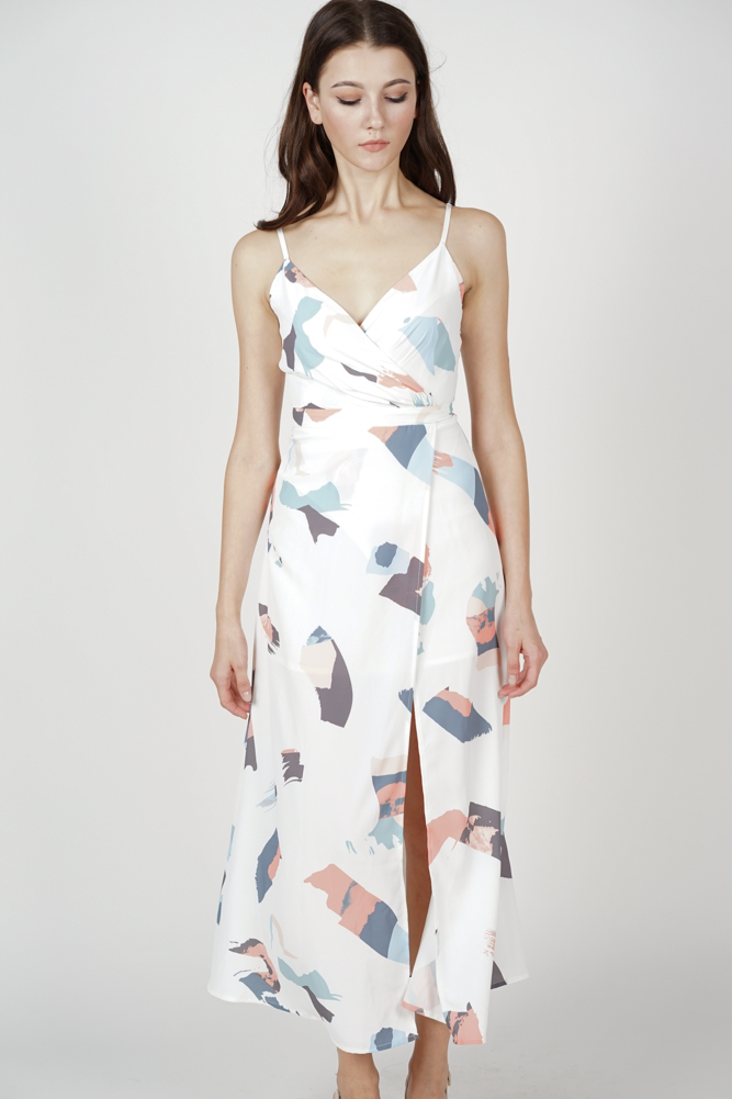 Flavia Maxi Dress in White Brush
