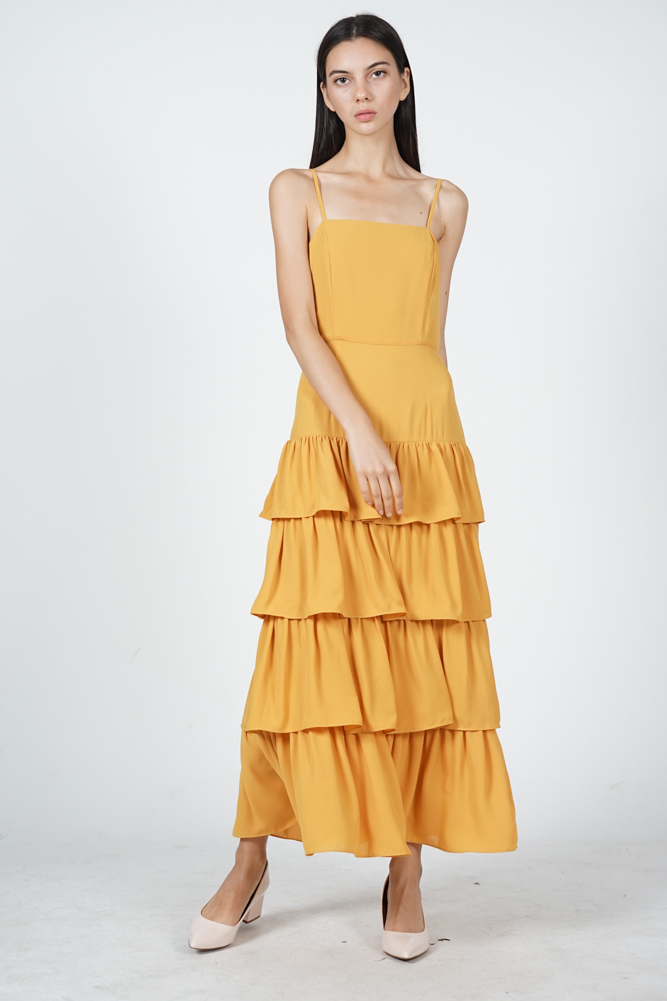 Dionne Layered Dress in Mustard