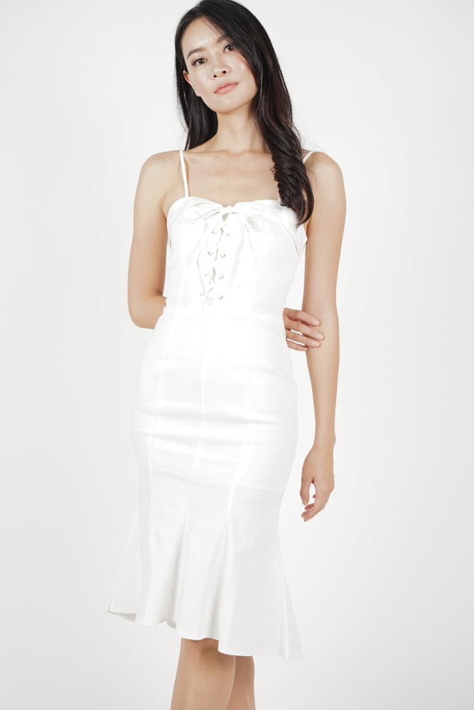 Lace-Up Ruffled Dress in White