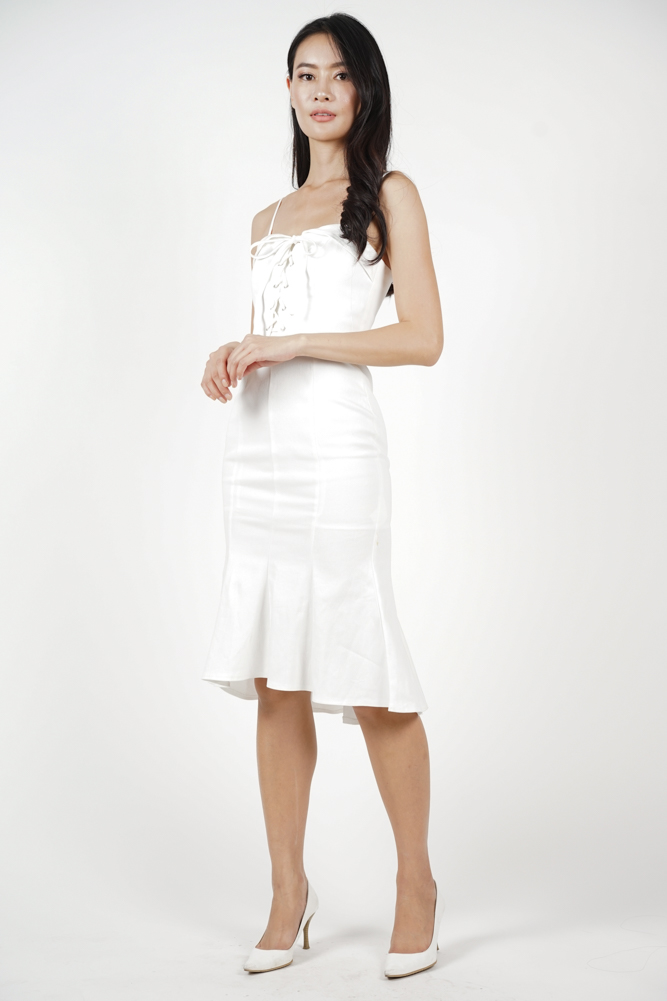 Lace-Up Ruffled Dress in White - Arriving Soon