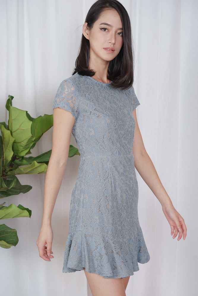 Nataline Lace Dress in Blue - Arriving Soon