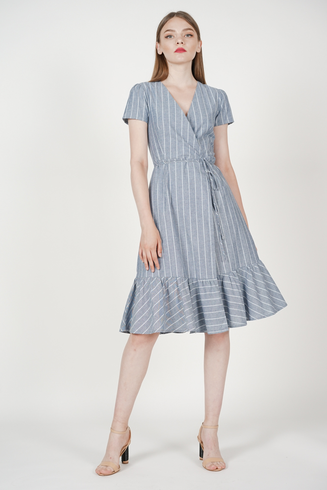 Crossover Tie Dress in Blue Stripes