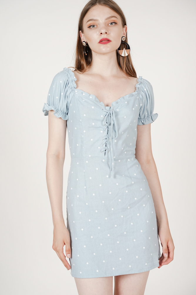 Gianna Lace-Up Dress in Ash Blue Polka