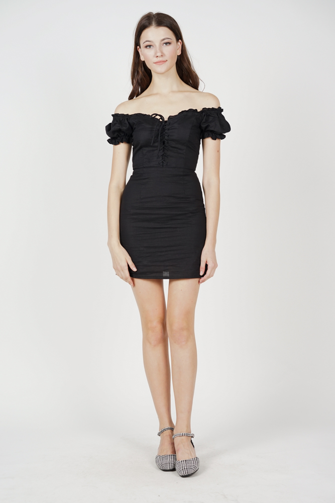 Gianna Lace-Up Dress in Black
