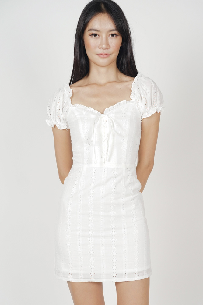7fbefeb86b9 MDS. Gianna Lace-Up Dress in White