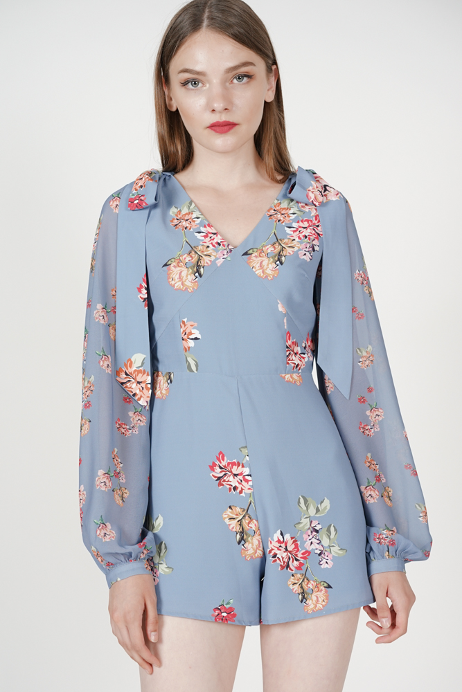 Solana Tie Romper in Ash Blue Floral