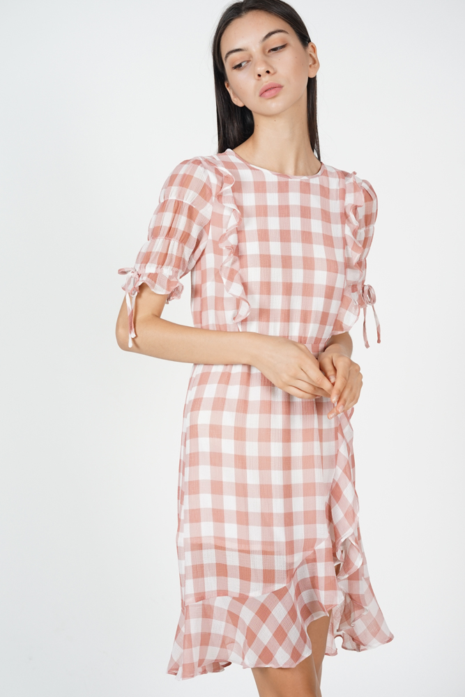 Britt Ruffled Dress in Blush Gingham