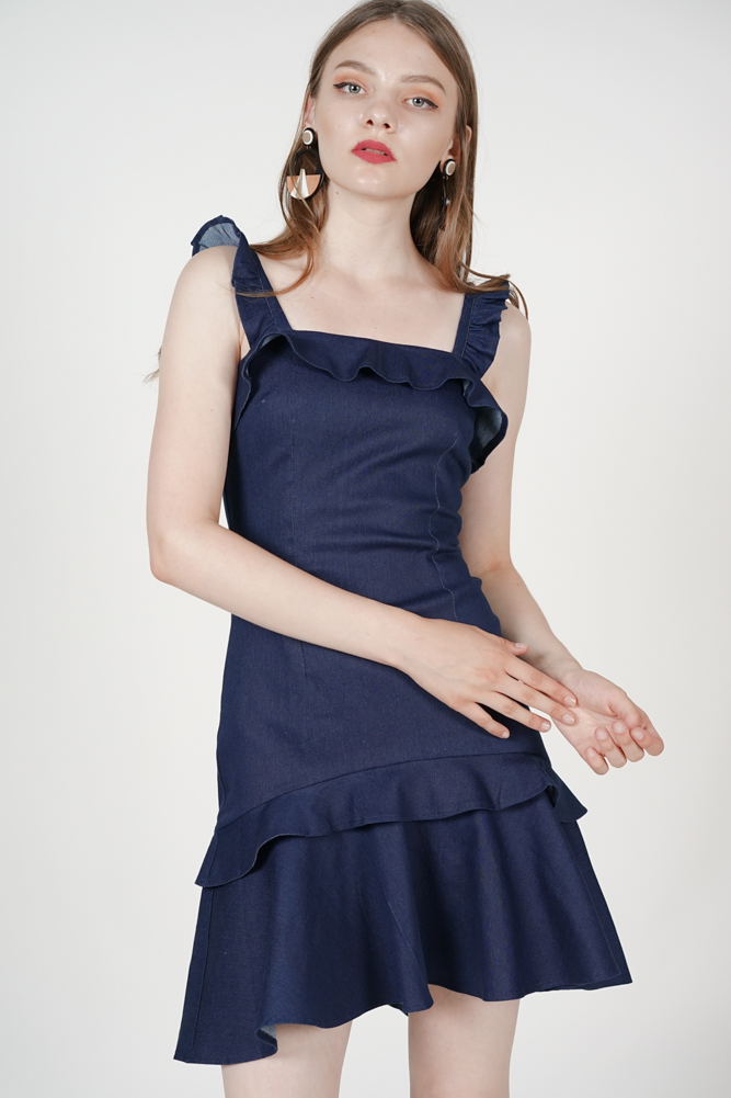 Hailey Denim Dress in Dark Blue