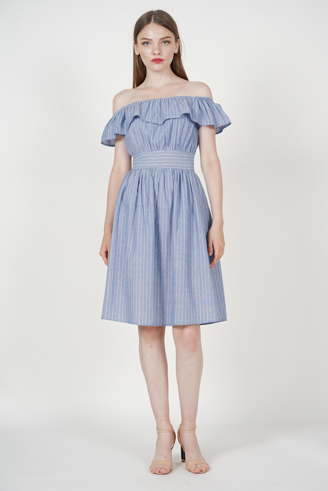 Rochella Flared Dress in Blue Stripes