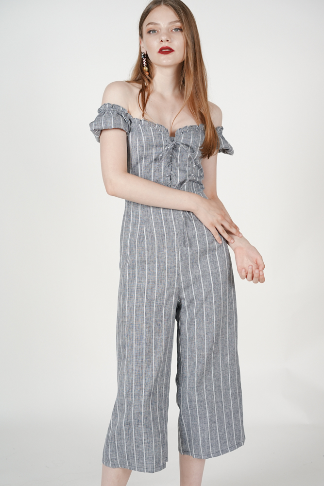 Kalila Puffy Jumpsuit in Dark Grey Stripes
