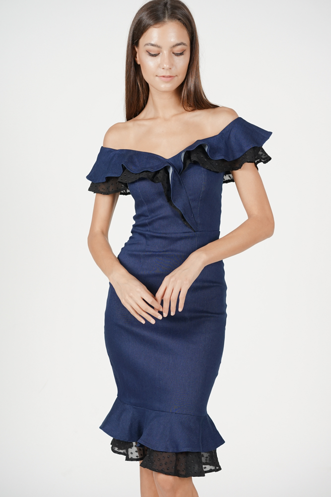 Viviane Mermaid Dress in Navy