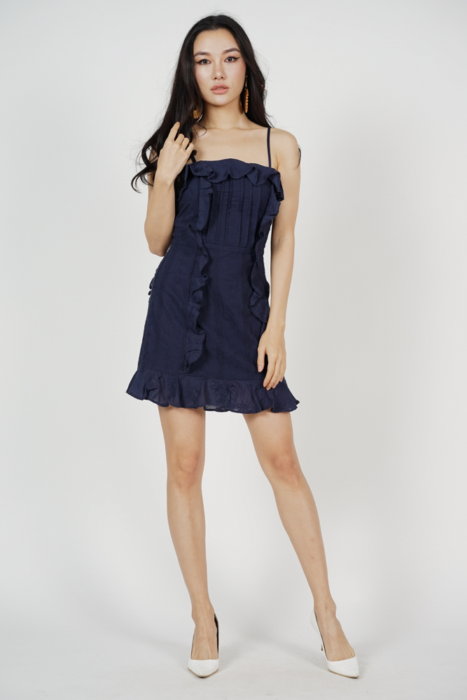 Shannelle Ruffled Dress in Midnight - Arriving Soon