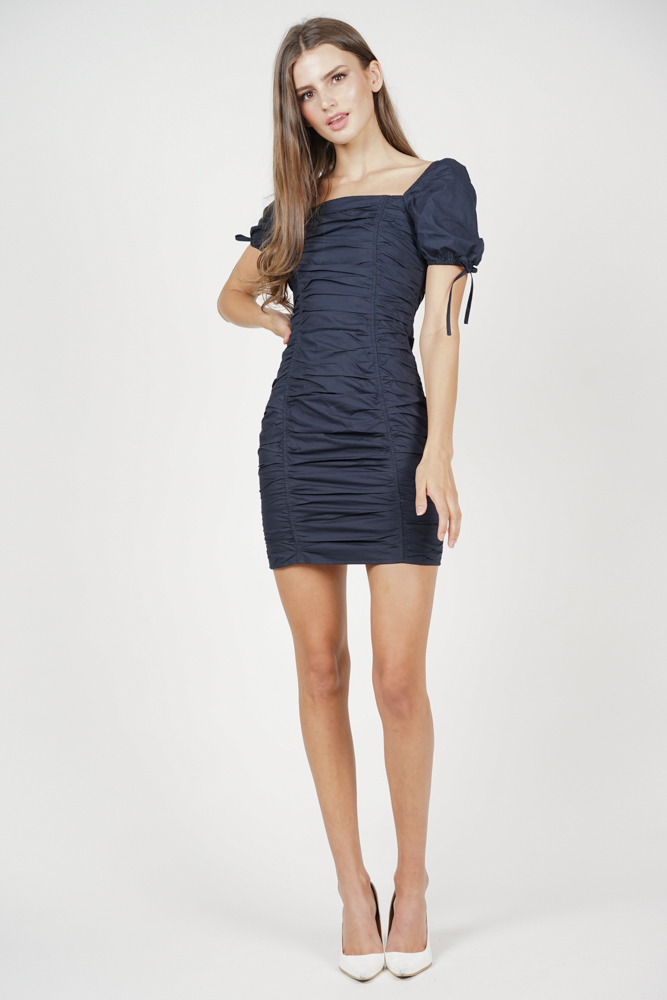 Whitney Ruched Dress in Midnight - Arriving Soon