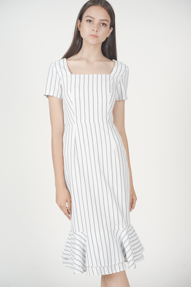 Anzen Ruffled-Hem Dress in White Stripes