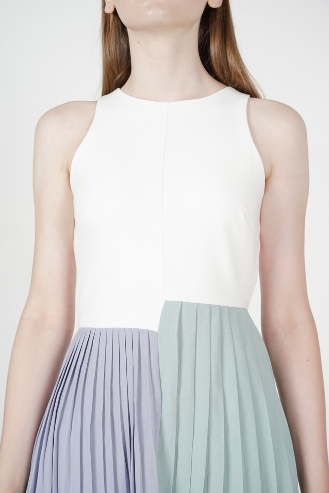 Pleated Block Dress in White