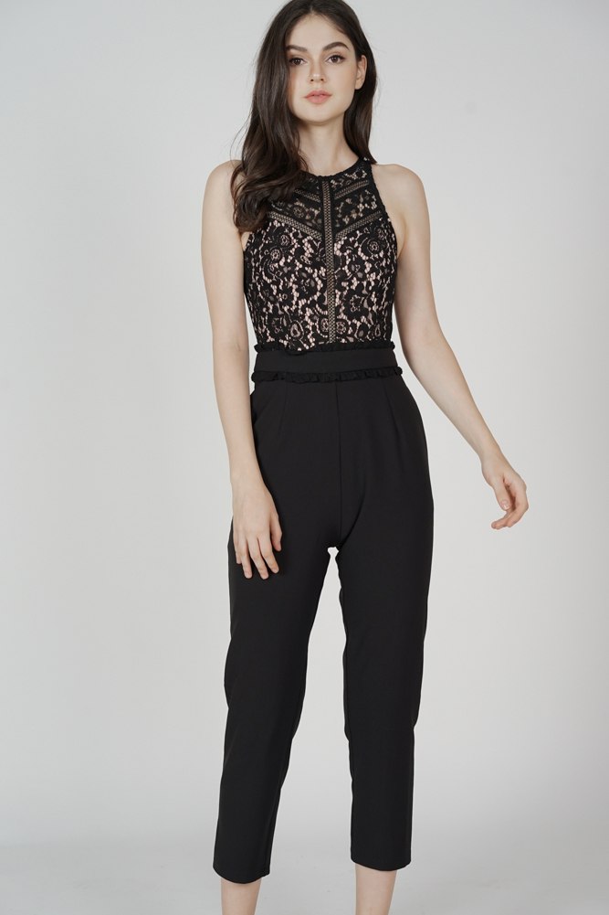 Elleanor Lace Jumpsuit in Black - Arriving Soon