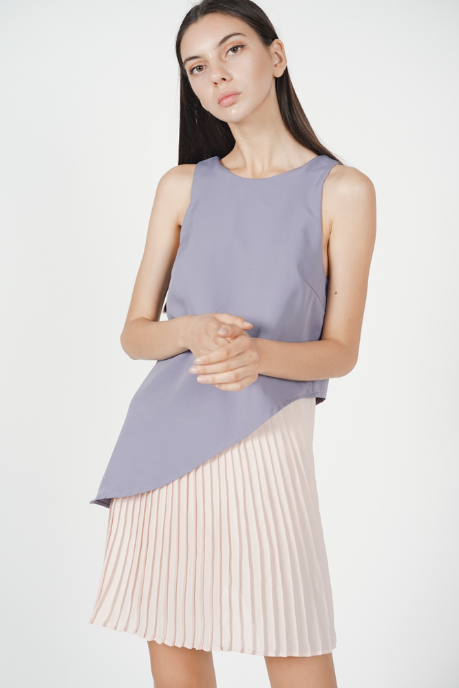 Marcy Pleated Dress in Lilac