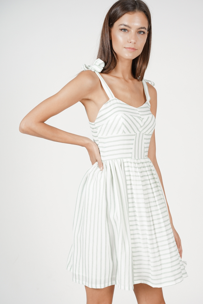 Delaney Gathered Dress in Mint Stripes