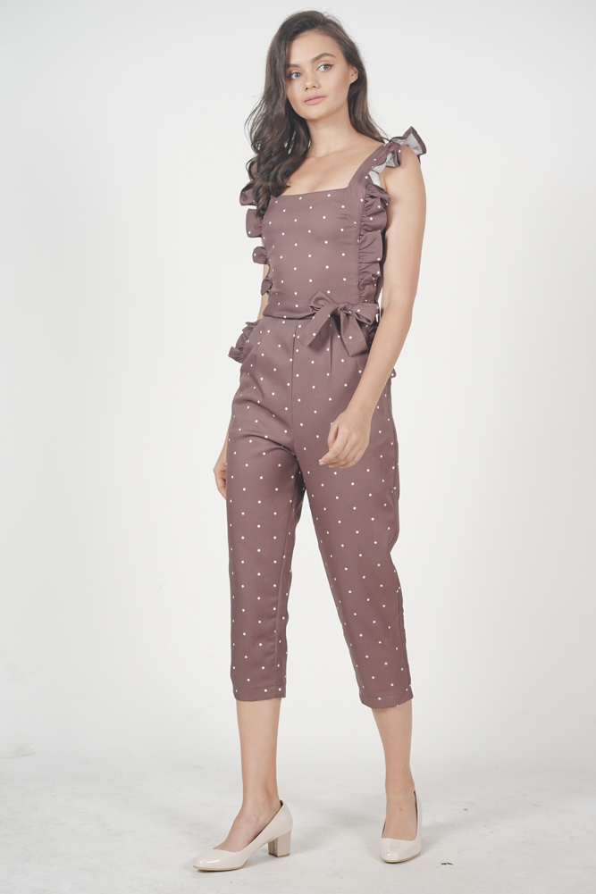 Klytie Frilled Jumpsuit in Brown Polka Dots