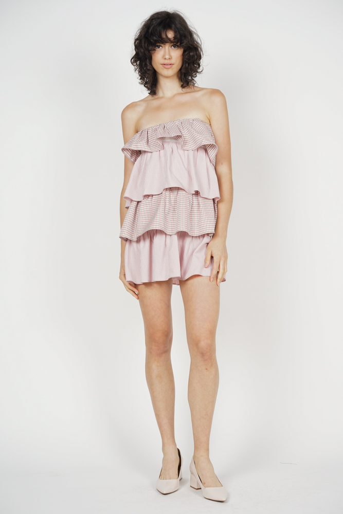 Sandrea Tiered Dress in Blush Gingham - Arriving Soon