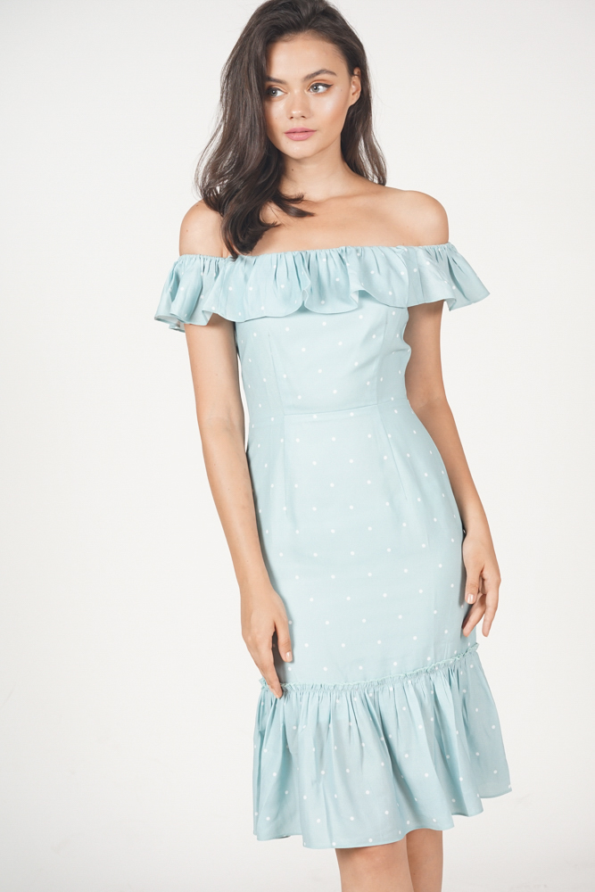 Trixie Ruffled Dress in Ash Blue Polka Dots