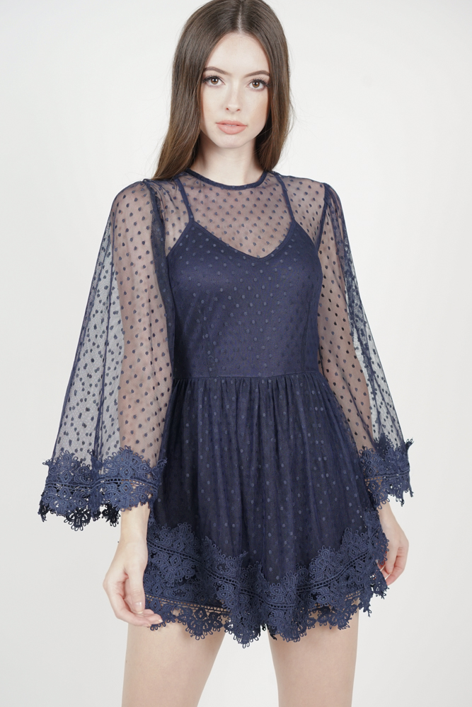 Alyxa Lace Romper in Midnight