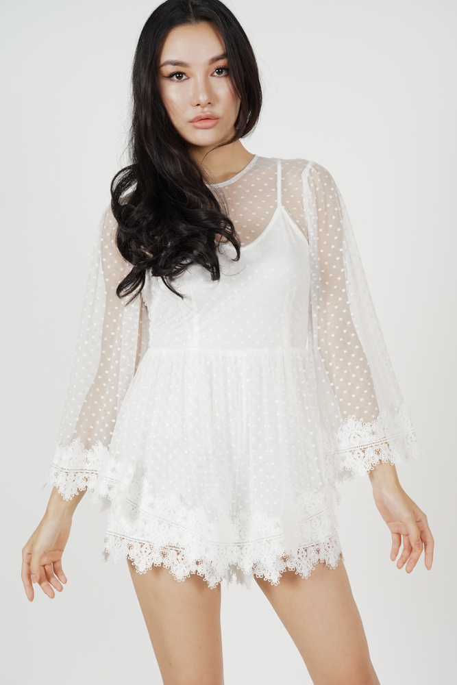 Alyxa Lace Romper in White