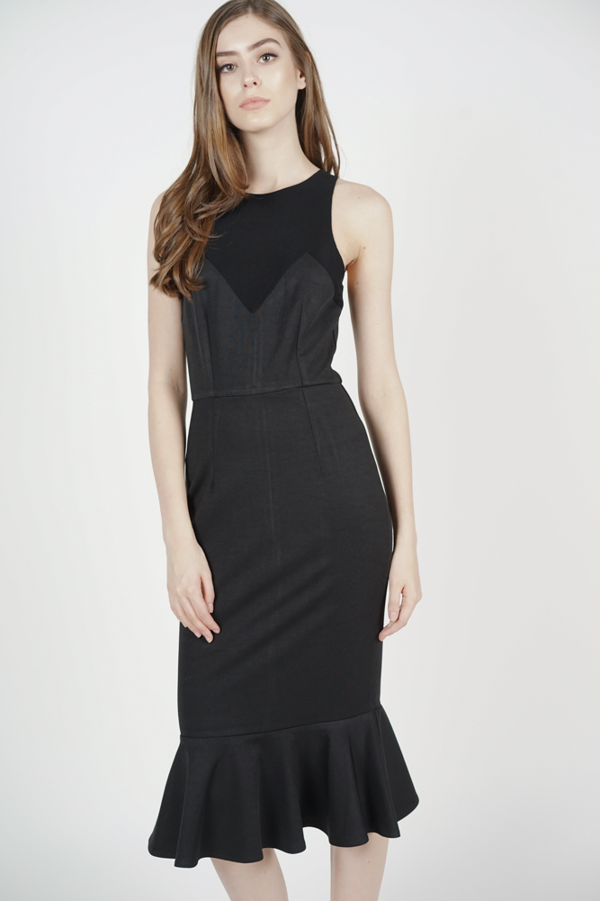 Robyn Mesh Dress in Black - Arriving Soon
