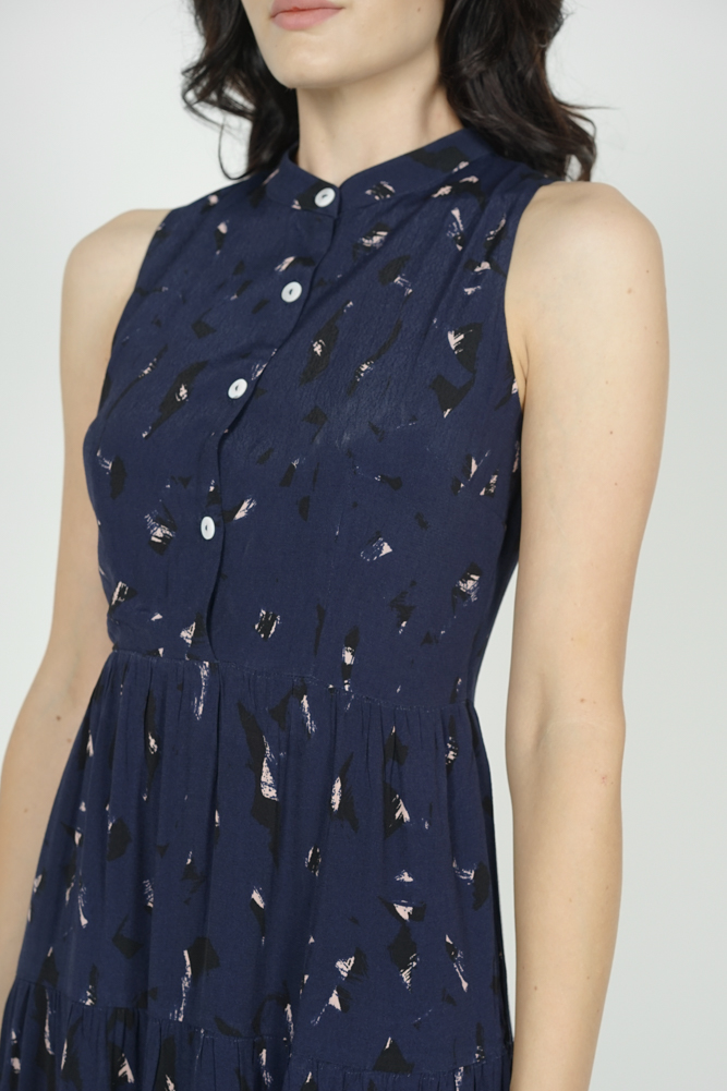 Fabiola Tiered Dress in Midnight Abstract