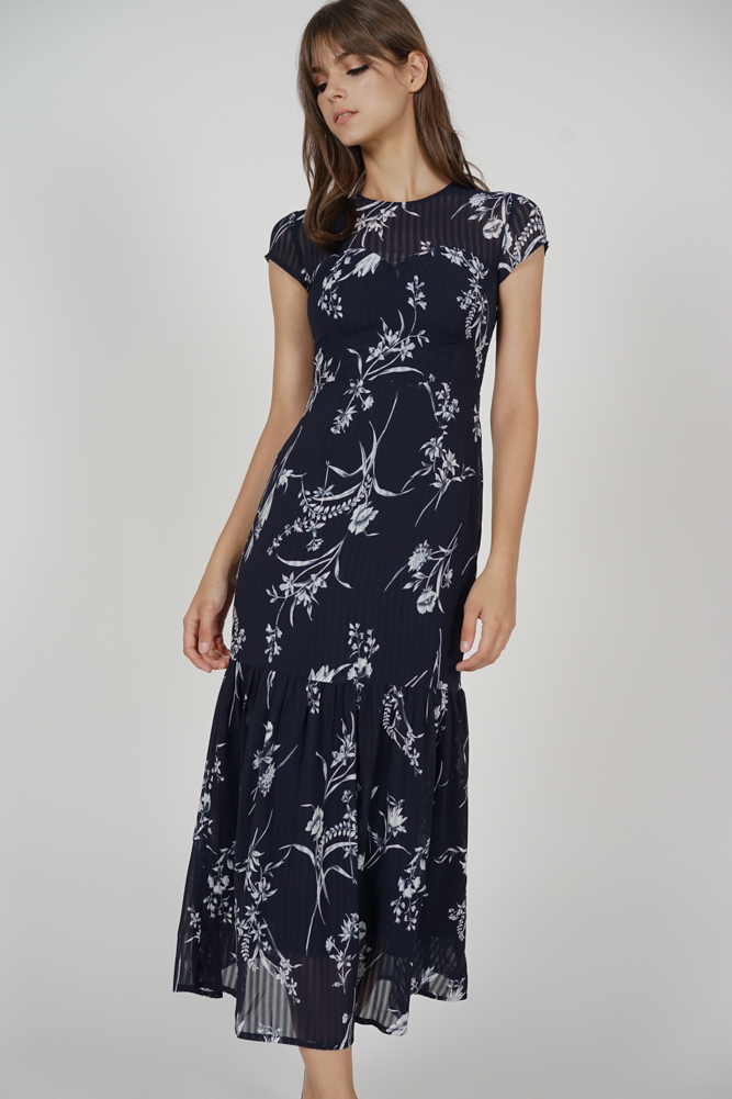 Evanora Ruffled-Hem Dress in Midnight Floral
