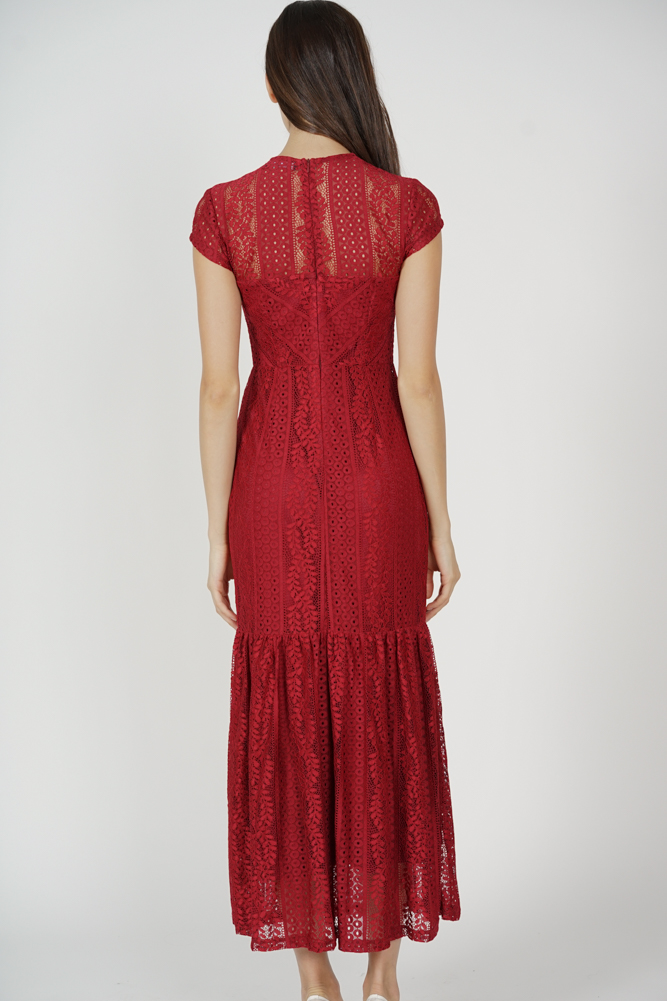 Agatha Lace Dress in Red - Arriving Soon