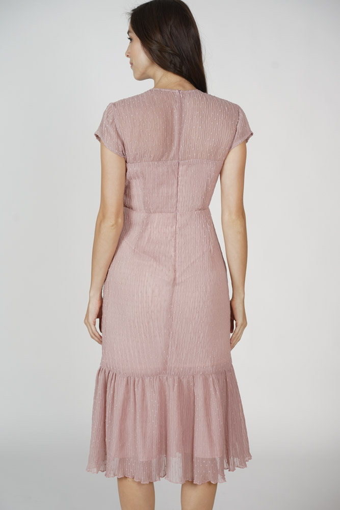 Ulma Ruffled-Hem Dress in Pink - Arriving Soon