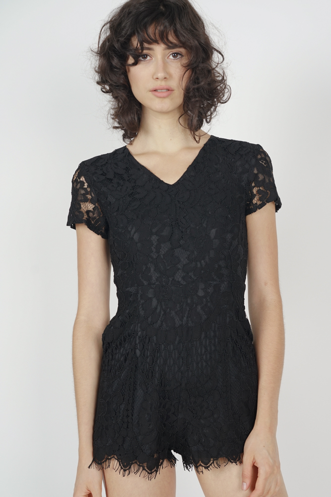 Abegail Lace Romper in Black